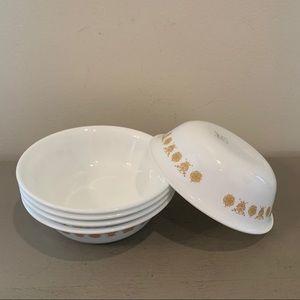 Vintage Butterfly Gold Corelle Cereal/Salad Bowls
